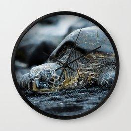 Turtle on a Black Sand Beach in Hawaii Wall Clock