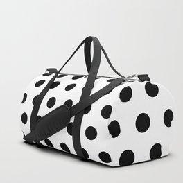 Triangular Polka Dots Black on White Duffle Bag