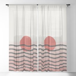 Abstract pattern 003 minimalist red blood moon eclipse  Sheer Curtain