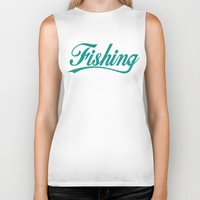 fishing Biker Tanks featuring Fishing by TurkeysDesign