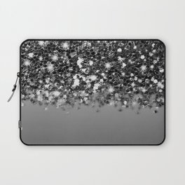 Black & Gunmetal Gray Silver Glitter Ombre Laptop Sleeve