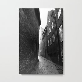 The alley photo in black and white Metal Print