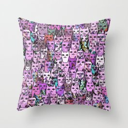 Pink Cat Crowd Throw Pillow