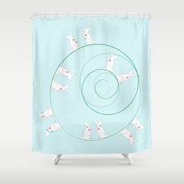 The Funny Bunnies in Baby Blue Shower Curtain