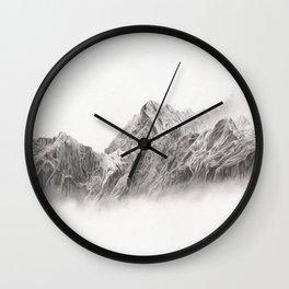 mountain range pencil art Wall Clock