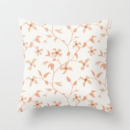 Floral Clematis Vine Throw Pillow