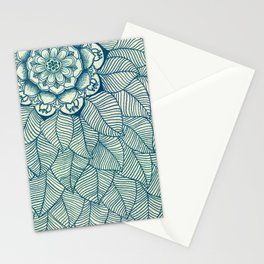 Emerald Green, Navy & Cream Floral & Leaf doodle Stationery Cards