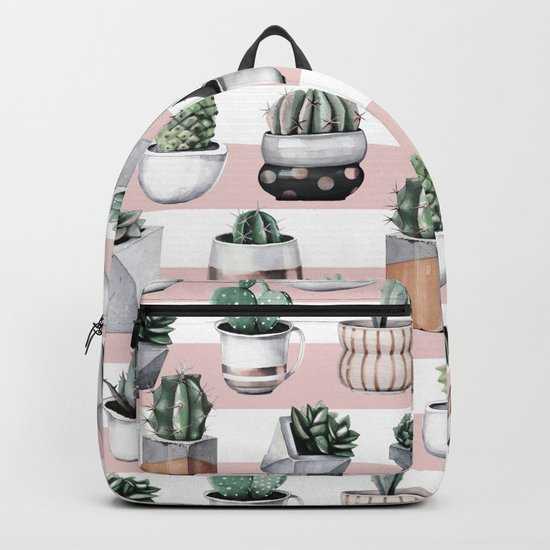 Potted Cactus Stripes Pink Rose Gold Backpack