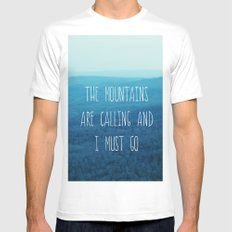 The Mountains Are Calling And I Must Go MEDIUM Mens Fitted Tee White