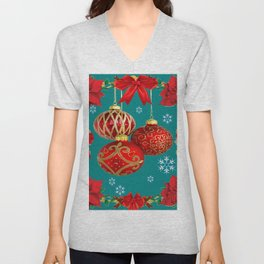 TEAL COLOR RED CHRISTMAS  ORNAMENTS &  POINSETTIAS FLOWER Unisex V-Neck