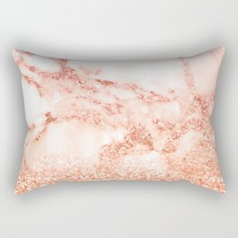 Sparkly Peach Copper Rose Gold Ombre Bohemian Marble Rectangular Pillow