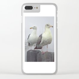 Two Sea Gulls in a Misty Harbor with Sailboats and Fishing Boats on Vancouver Island Clear iPhone Case