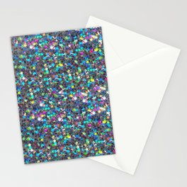 Sparkle Confetti Stars   Multi-color with Silver Tint   Stationery Cards