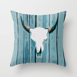 Abstract Cattle Skull Throw Pillow