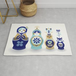 Russian Nesting Dolls – Blue & Gold Rug
