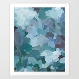 Turquoise Blue Green Mint Purple Abstract Geode Rock Wall Art Brush Painting Print Art Print