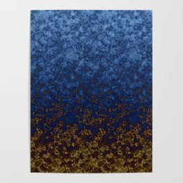 Blue yellow abstract Poster