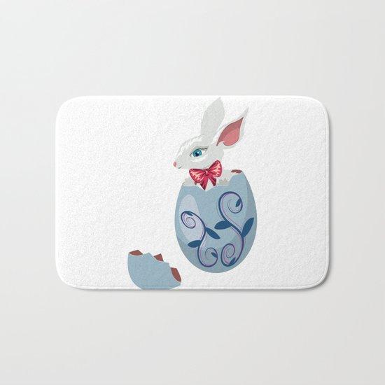 Cute Easter Bunny In Cracked Egg Bath Mat By AnnArtshock