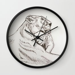 Lioness and Cub Wall Clock