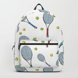 Tennis pattern. Hand-drawn colored sketch style tennis racquet with yellow tennis balls on white bac Backpack