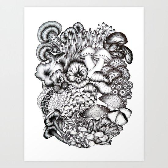 A Medley of Mushrooms Art Print
