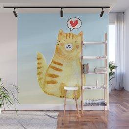 Watercolor Orange Cat Wall Mural