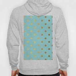 Gold polka dots on aqua background - Luxury turquoise pattern Hoody
