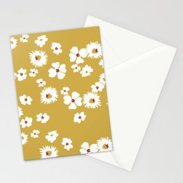 Modern liberty print on mustard ground Stationery Cards