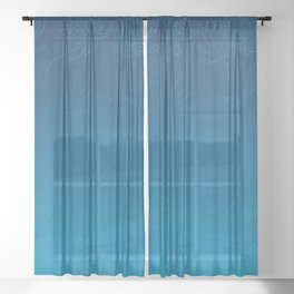 Ombre Ocean Blue Dahlia Flowers Sheer Curtain