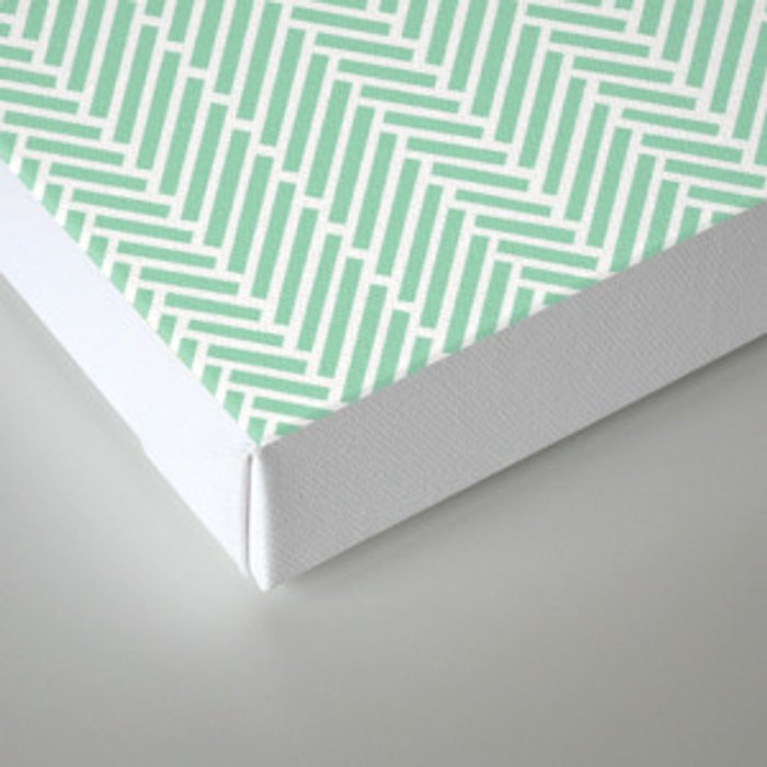 Herringbone Mint Inverse Canvas Print