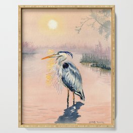 Great Blue Heron at Sunset Serving Tray