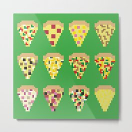 Pixel pizza slices Metal Print