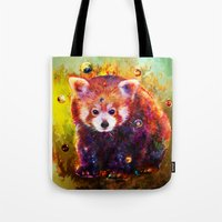 red panda Tote Bags featuring red panda by ururuty