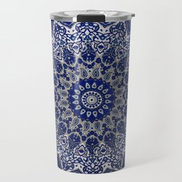 Blue Traditional Andalusian Moroccan Mandala Artwork Travel Mug