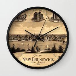 Map of New Brunswick NJ 1880 Wall Clock