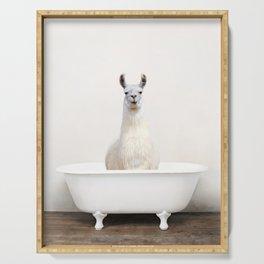 llama in a Vintage Bathtub (c) Serving Tray