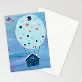 Snow Globe Hot Air Balloon Flying House with Birds Stationery Cards