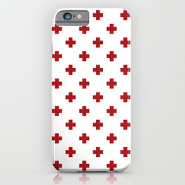 Red Swiss Cross Pattern iPhone Case