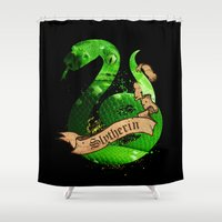 slytherin Shower Curtains featuring Slytherin by Markusian