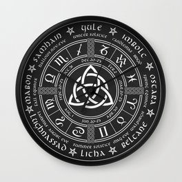 Triquetra Pagan Wheel Of The Year Wall Clock