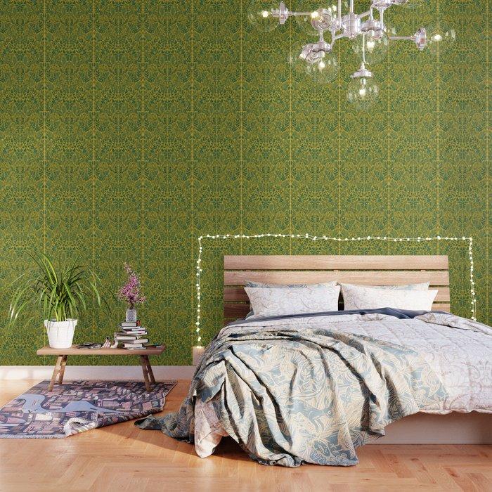 Green Botanical Damask Wallpaper