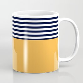 Mustard & Navy Blue Half Striped Coffee Mug