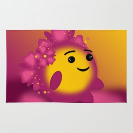 Flower power emoji Rug