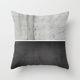 Raw Concrete and Black Leather Throw Pillow