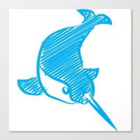 narwhal Canvas Prints featuring Narwhal by Gothic Panda