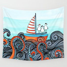 Seagull and little boat Wall Tapestry