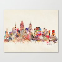 cincinnati Canvas Prints featuring cincinnati ohio  by bri.buckley
