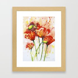 Lush Orange Spring Poppies Framed Art Print