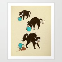 coffee Art Prints featuring Coffee Cat by Boots