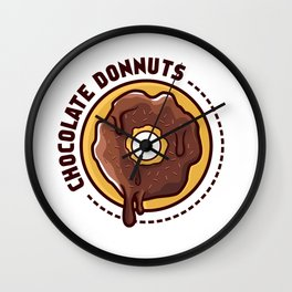 Chocolate donnuts Wall Clock